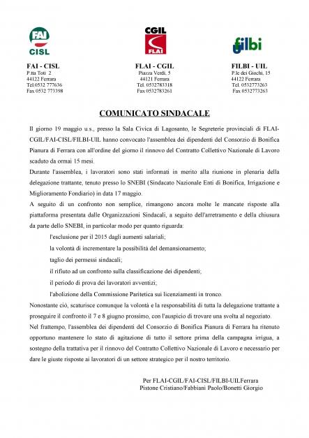 CONSORZIO DI BONIFICA DI PIANURA: PROSEGUE IL CONFRONTO PER IL RINNOVO DEL CCNL