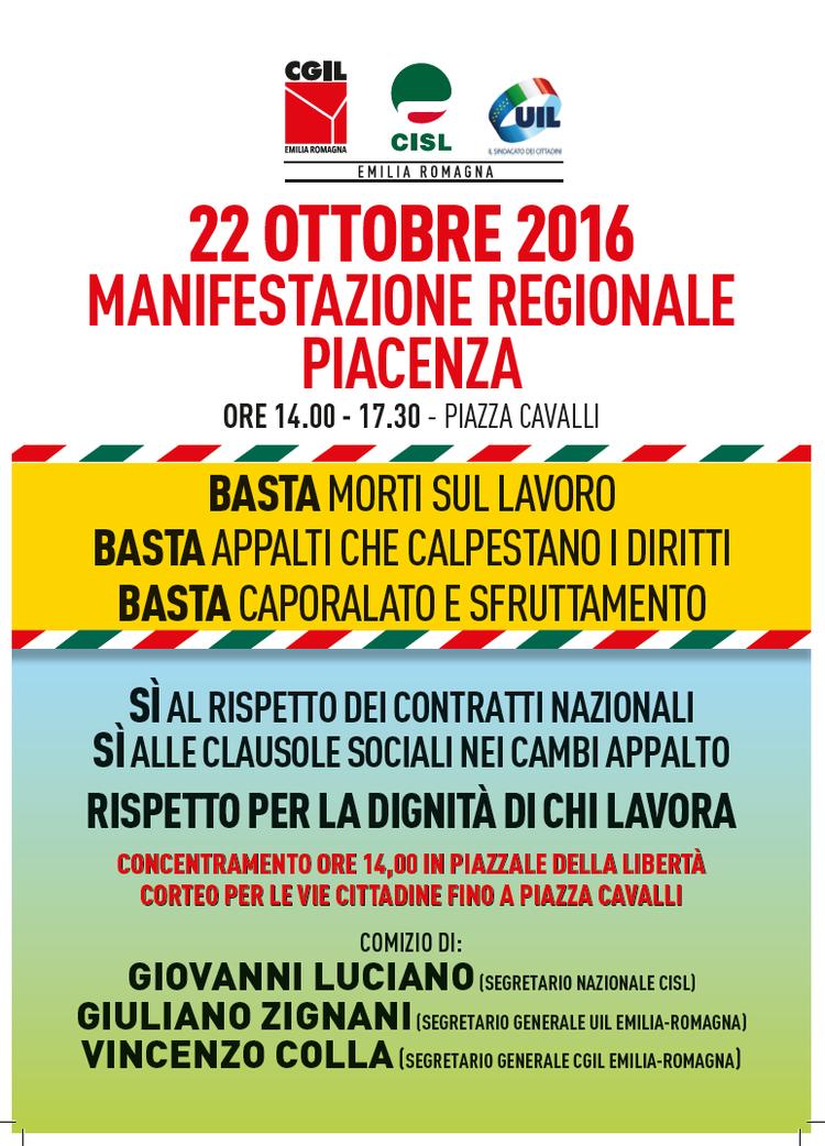 Manifestazione regionale per la dignità del lavoro