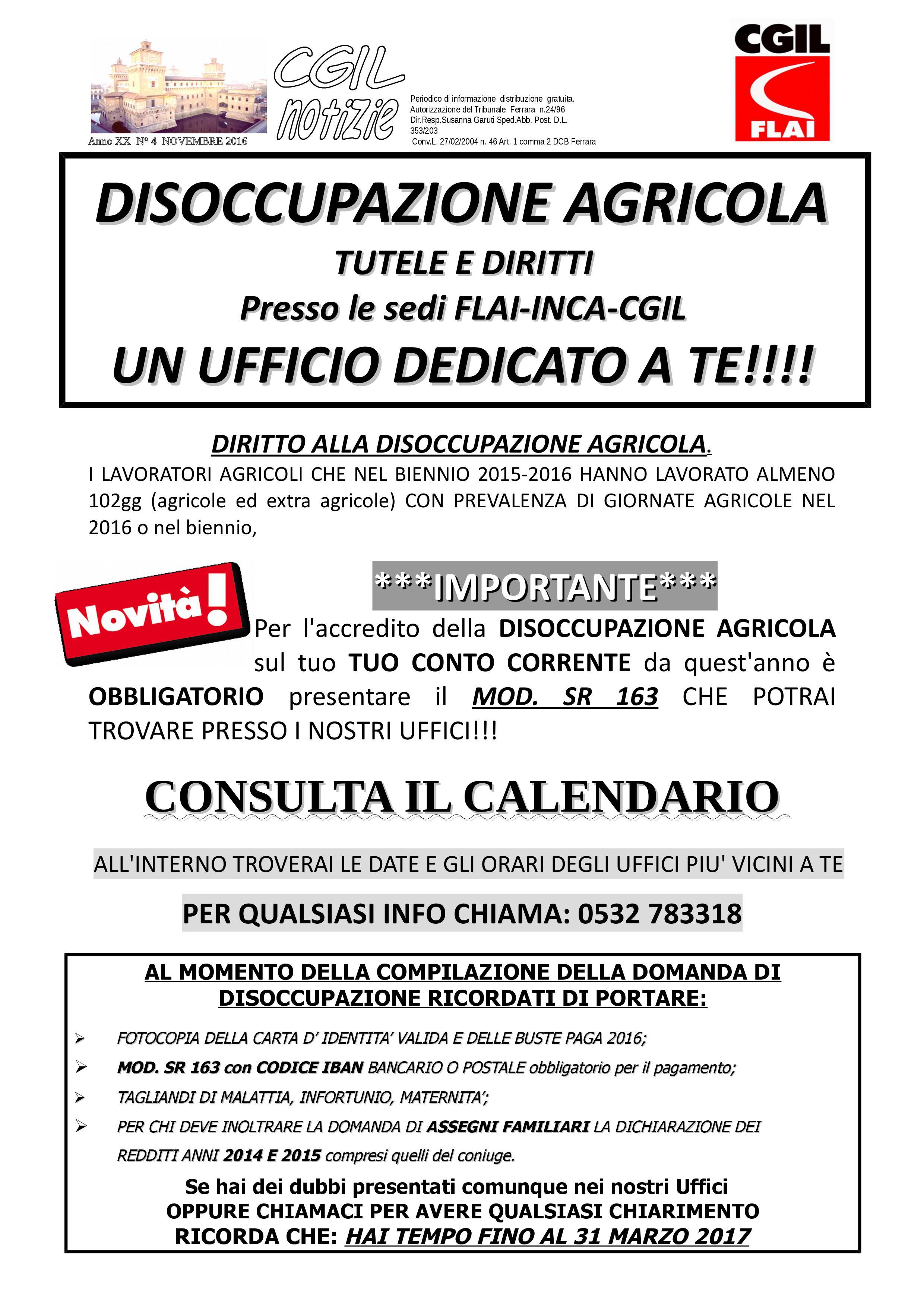 Disoccupazioni agricole 2017: un ufficio dedicato a te