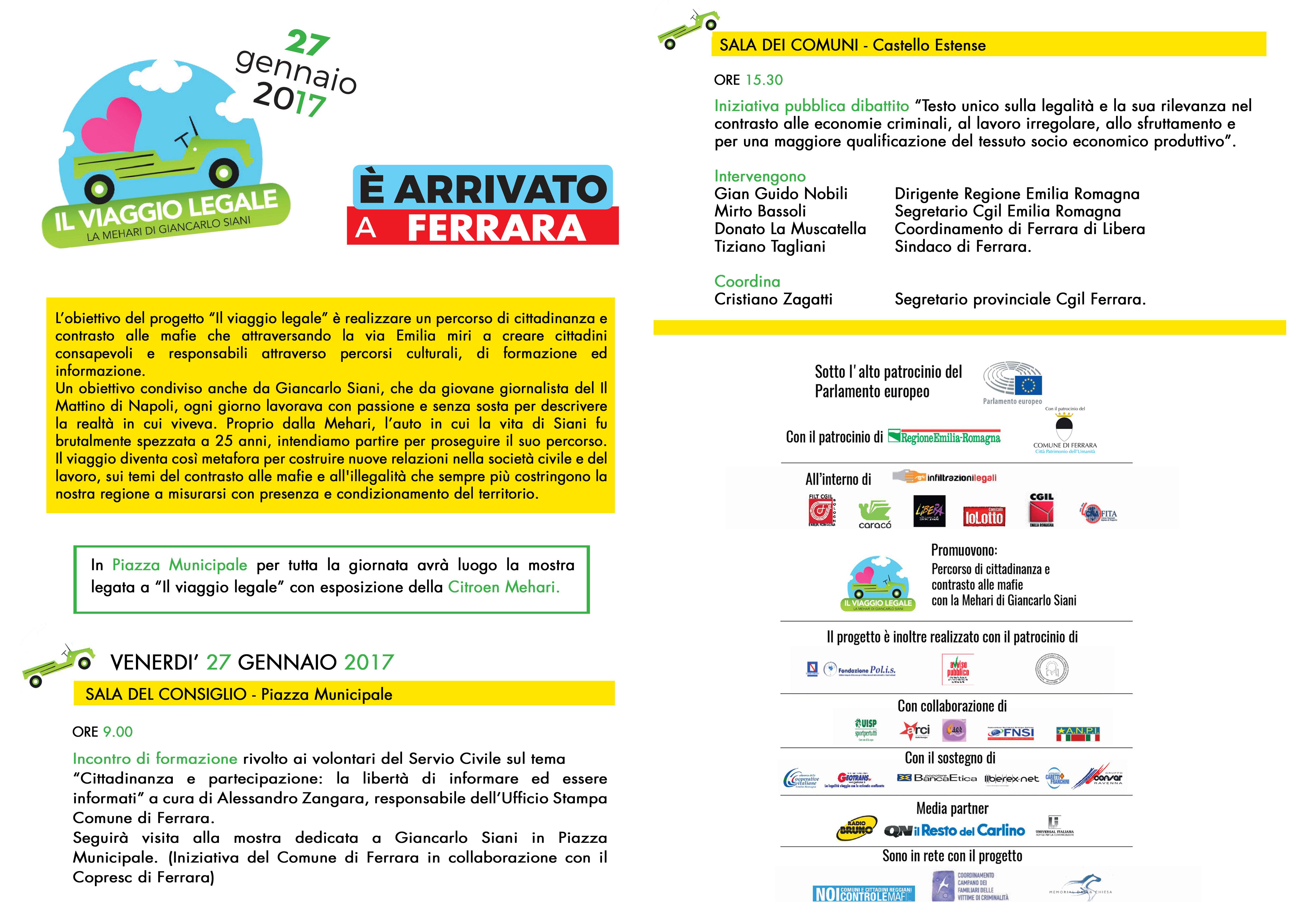 Il viaggio legale: Ferrara 27 gennaio