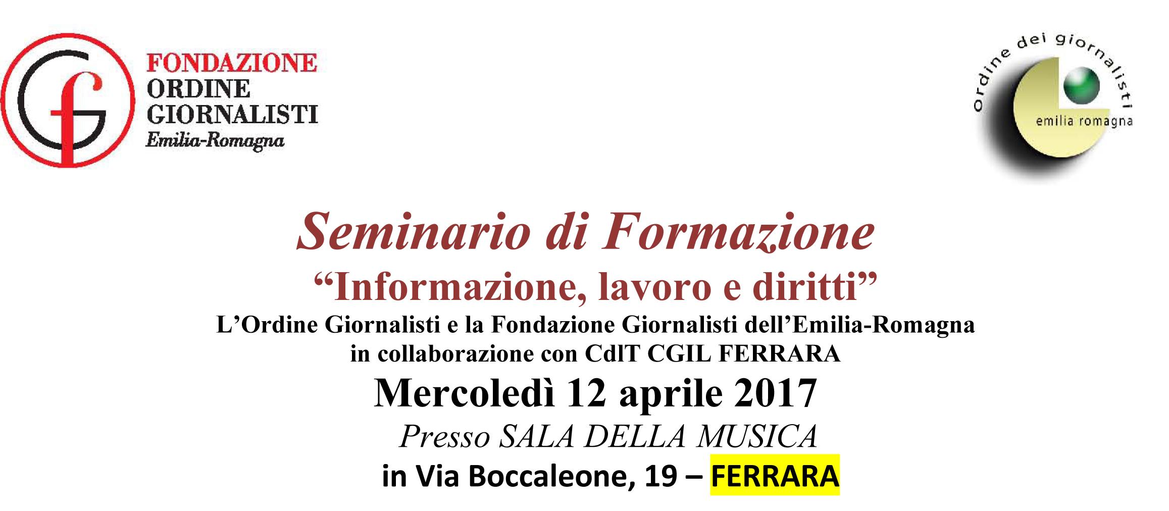 Informazione, lavoro e diritti. Seminario di formazione mercoledì 12 aprile