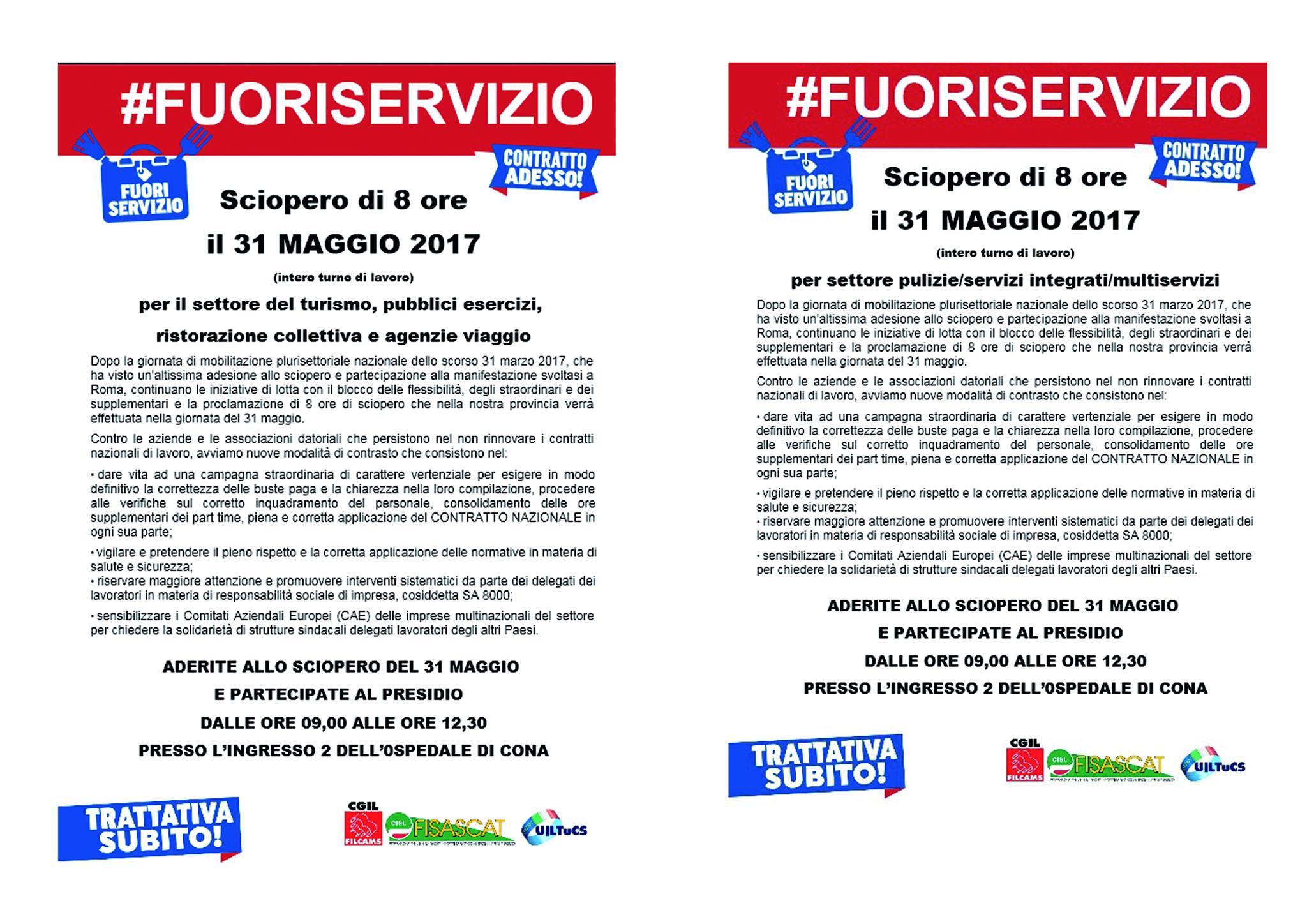 31 maggio sciopero di 8 ore dei settori turismo, ristorazione collettiva e pulimento