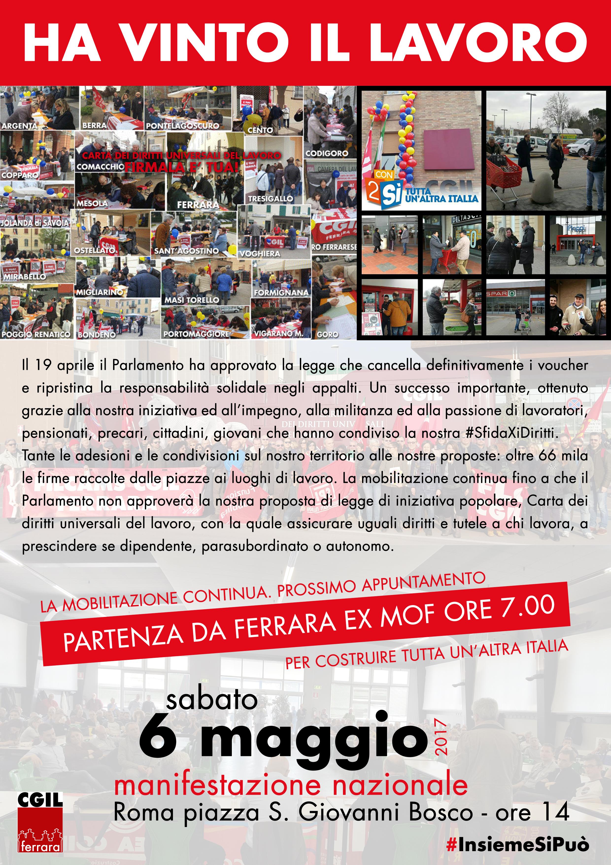 Sabato 6 maggio tutti a Roma per costruire tutta un'altra Italia