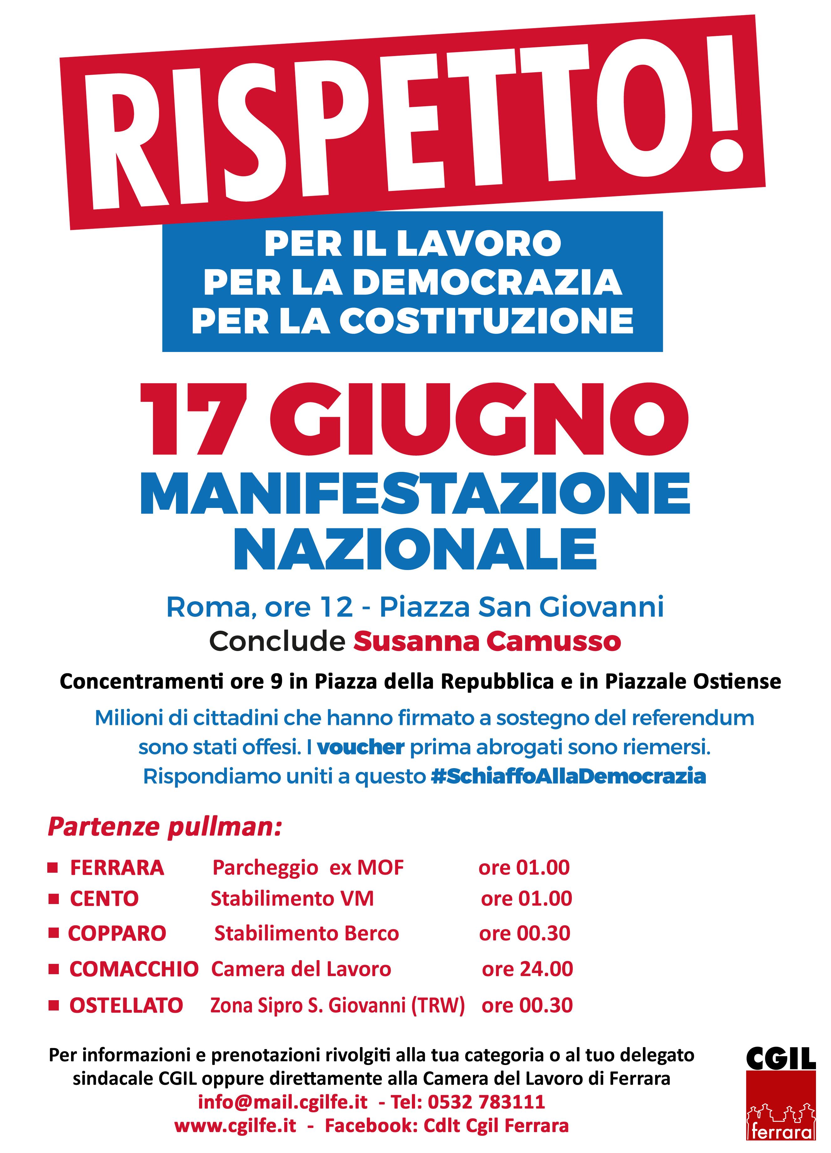 Sabato 17 giugno grande manifestazione a Roma per il lavoro e la democrazia