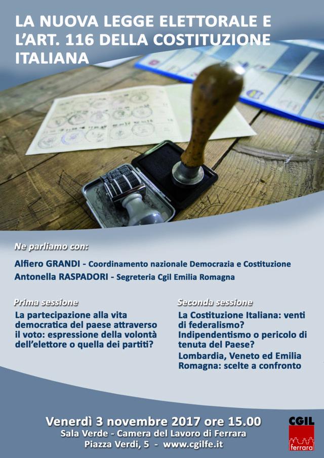 La nuova legge elettorale e l'art. 116 della Costituzione Italiana. Seminario pubblico