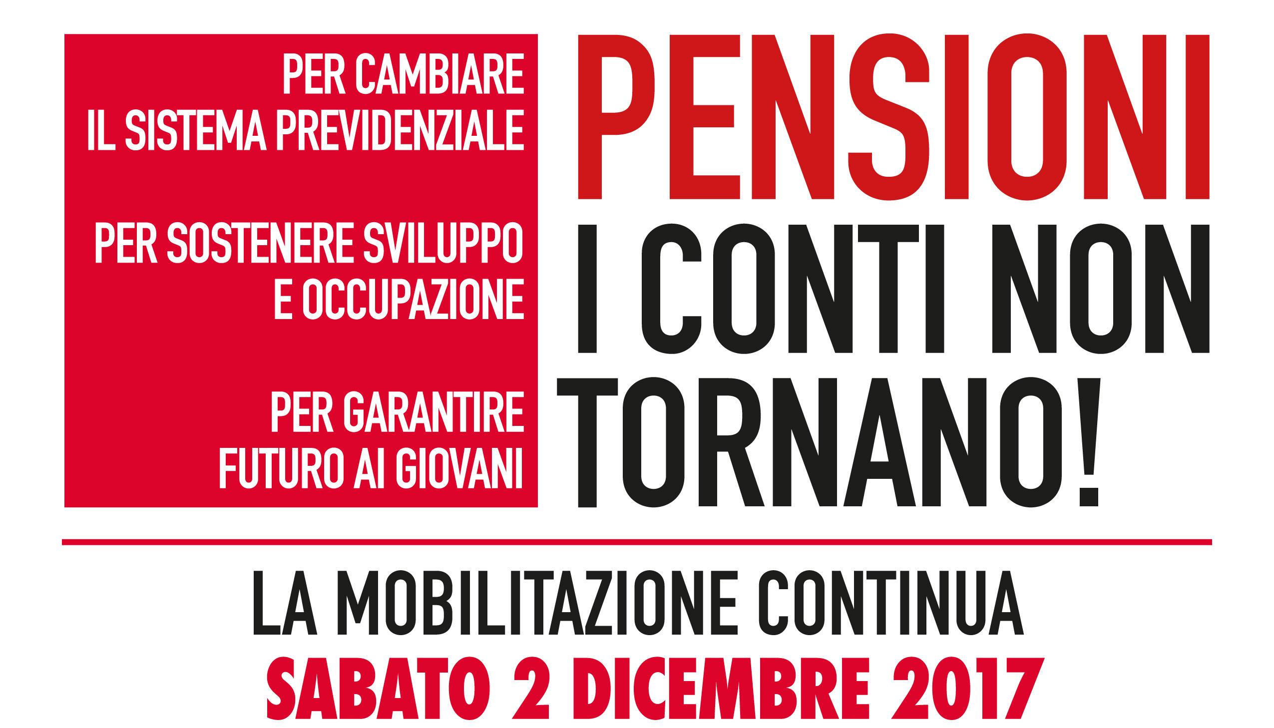 """Manifestazione a Roma sabato 2 dicembre """"Pensioni i conti non tornano!"""""""