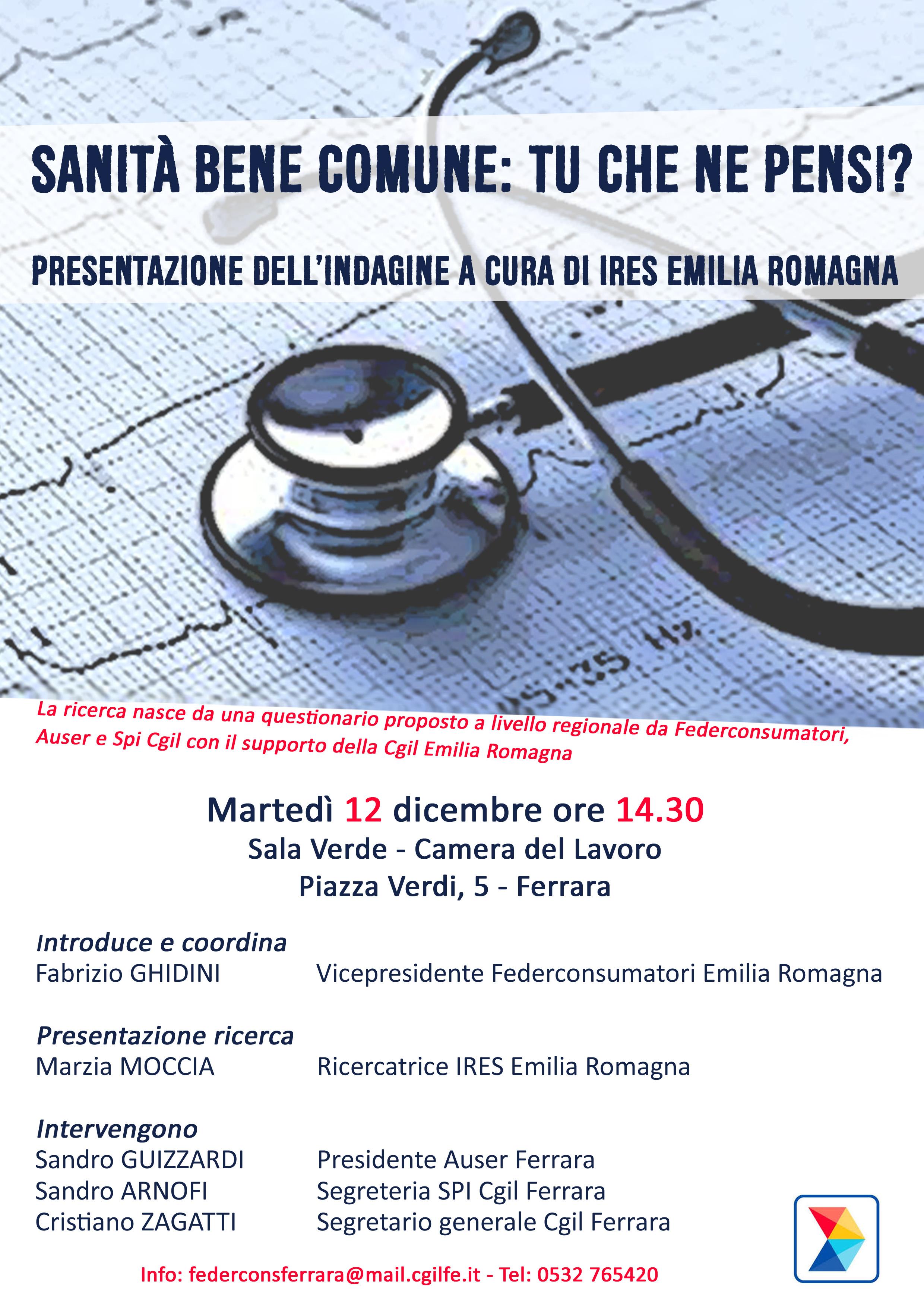Sanità bene comune: presentazione indagine martedì 12 dicembre