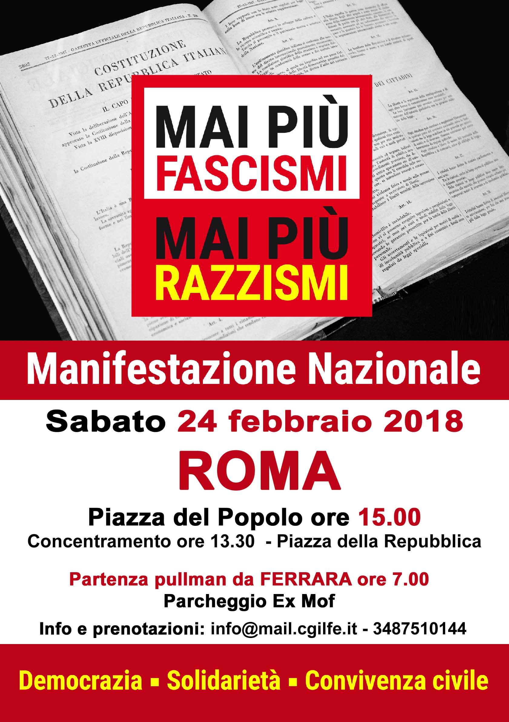 MAI PIU' FASCISMI: manifestazione nazionale sabato 24 febbraio a Roma