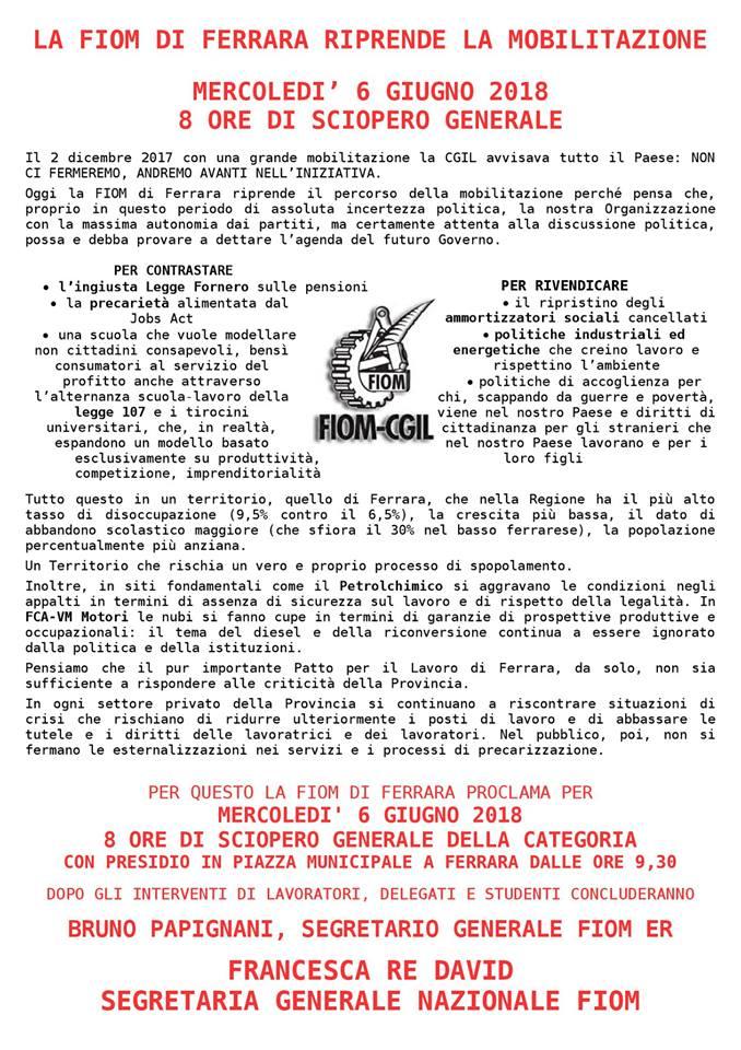 Fiom Cgil Ferrara: 8 ore di sciopero generale mercoledì 6 giugno