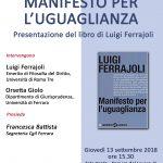 Manifesto per l'uguaglianza: presentazione del volume di Luigi Ferrajoli