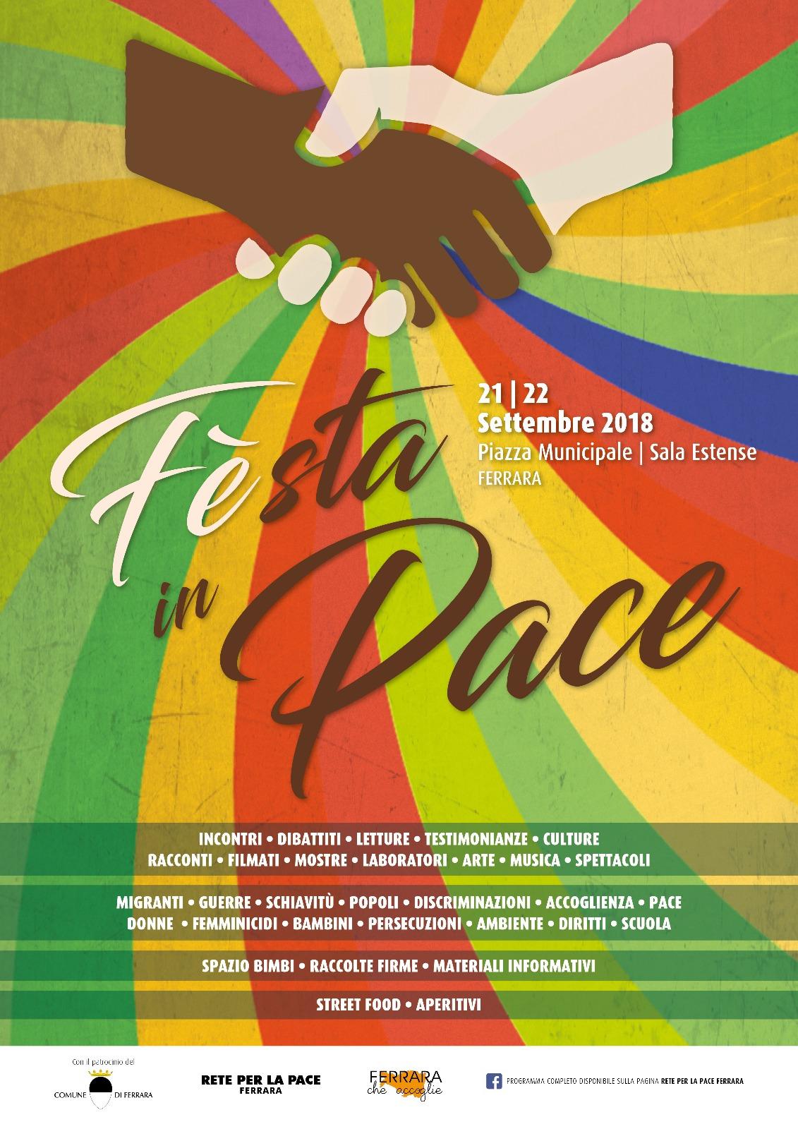 FEsta in Pace: venerdì 21 e sabato 22 settembre in Piazza Municipale