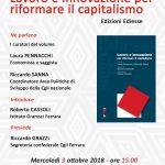 Lavoro e innovazione per riformare il capitalismo: mercoledì 3 ottobre