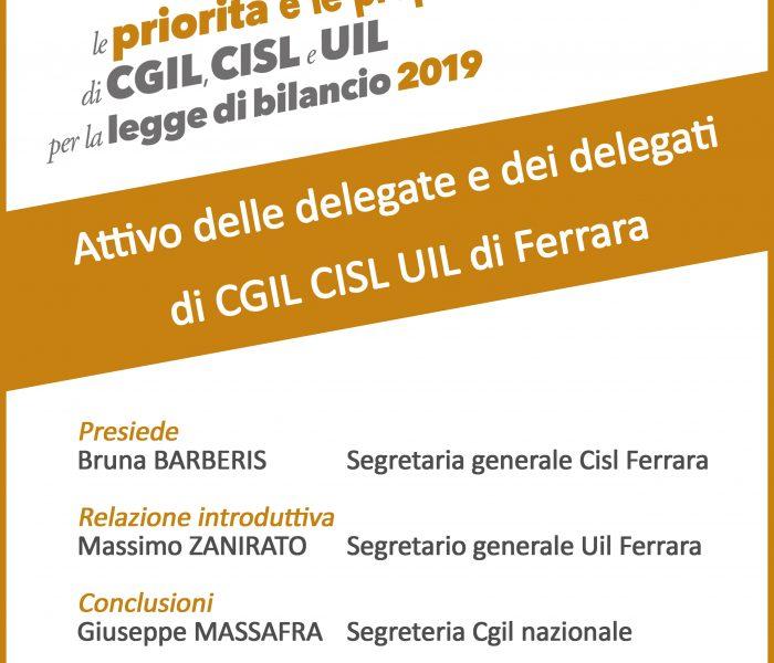 Giovedì 22 novembre attivo delle delegate e dei delegati Cgil Cisl Uil di Ferrara per legge di bilancio 2019