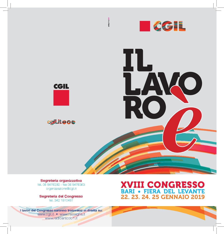 Al via il Congresso nazionale della Cgil a Bari dal 22 al 25 gennaio