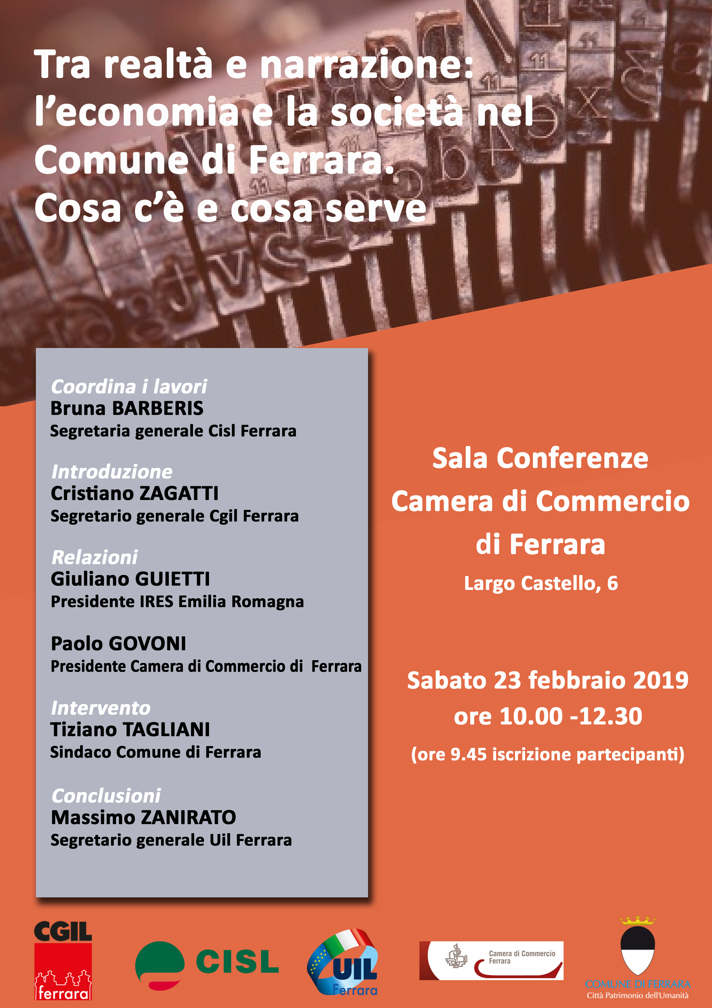 Tra realtà e narrazione: sabato 23 febbraio iniziativa pubblica in Camera di Commercio a Ferrara