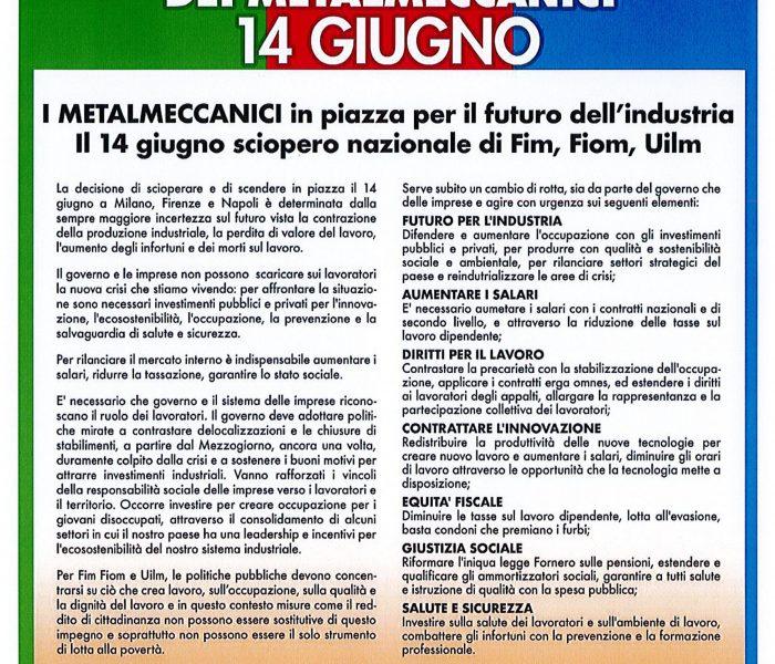 Firenze 14 giugno: sciopero di 8 ore con manifestazione dei metalmeccanici