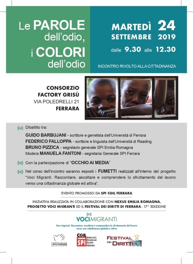 Le parole dell'odio, i colori dell'odio: martedì 24 settembre un incontro aperto alla cittadinanza