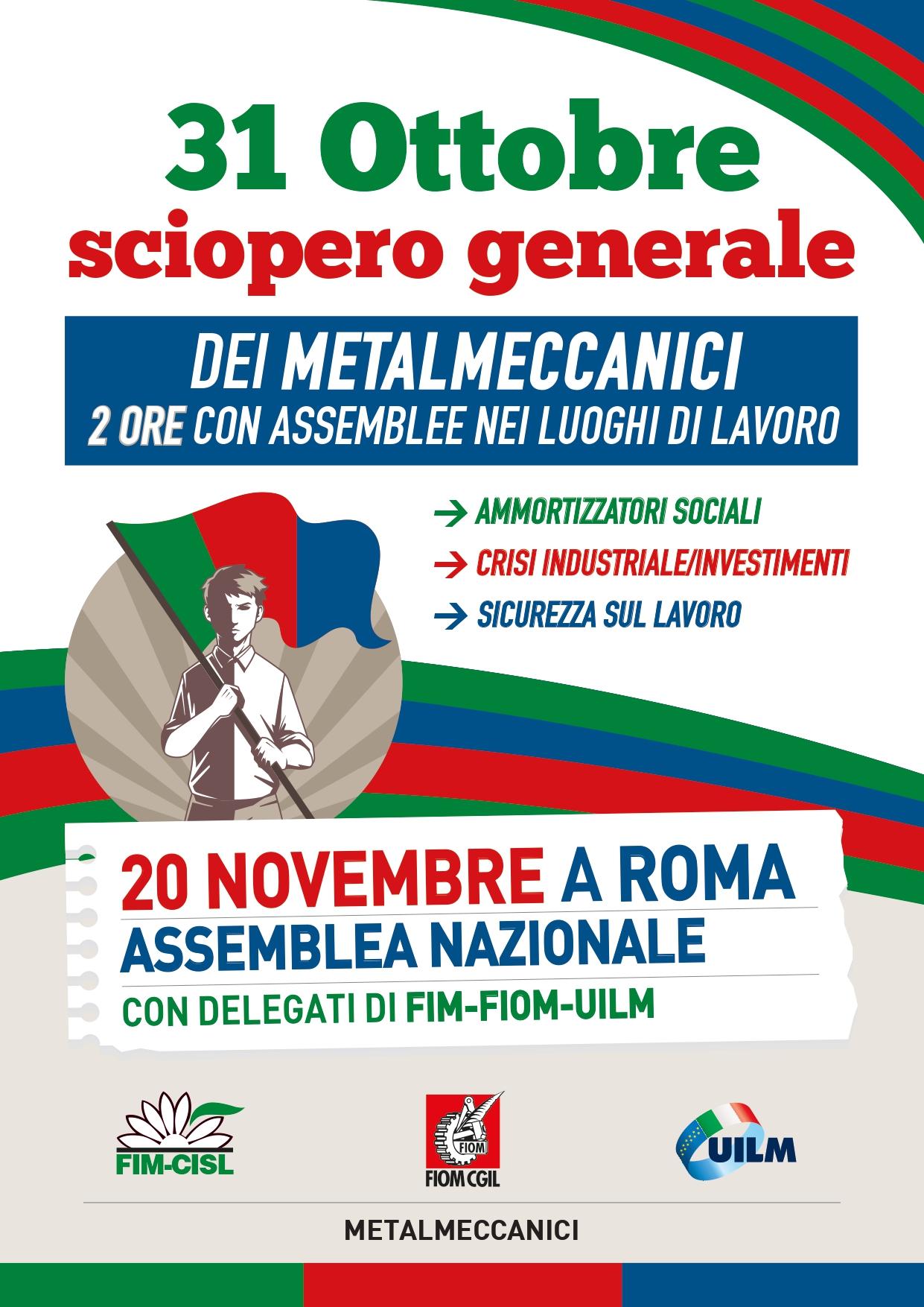 Giovedì 31 ottobre sciopero delle lavoratrici e dei lavoratori metalmeccanici