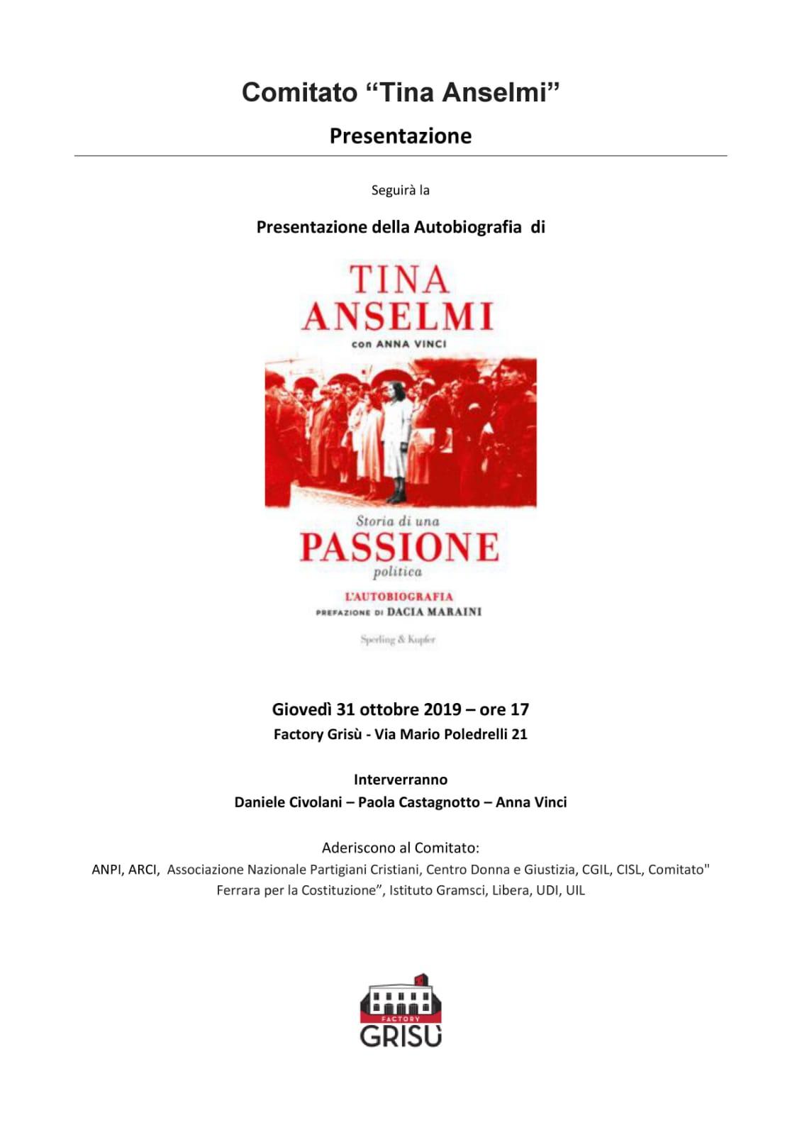 Storia di una passione politica: presentazione dell'autobiografia di Tina Anselmi