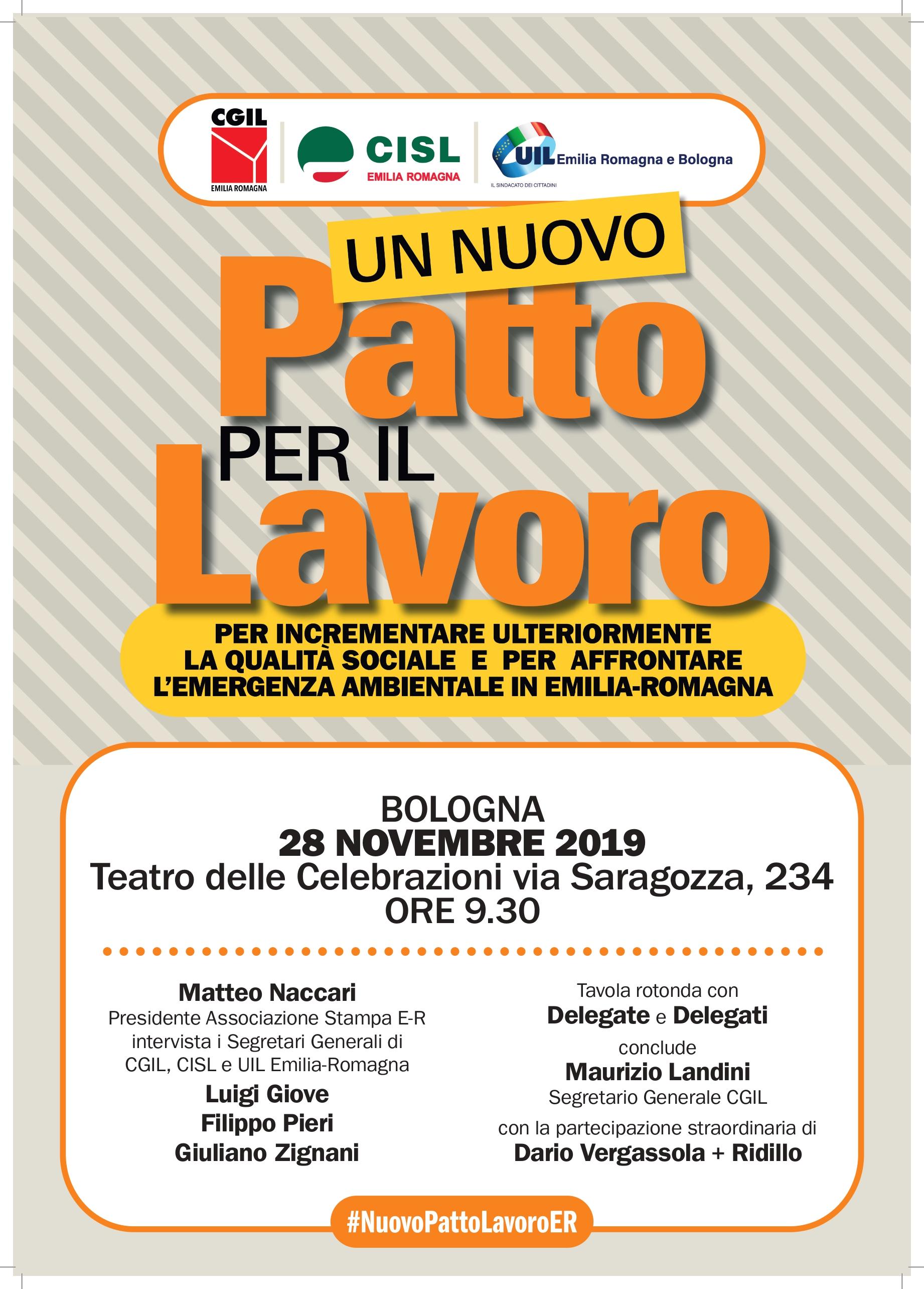 Un nuovo Patto per il Lavoro: Cgil, Cisl, Uil a Bologna giovedì 28 novembre