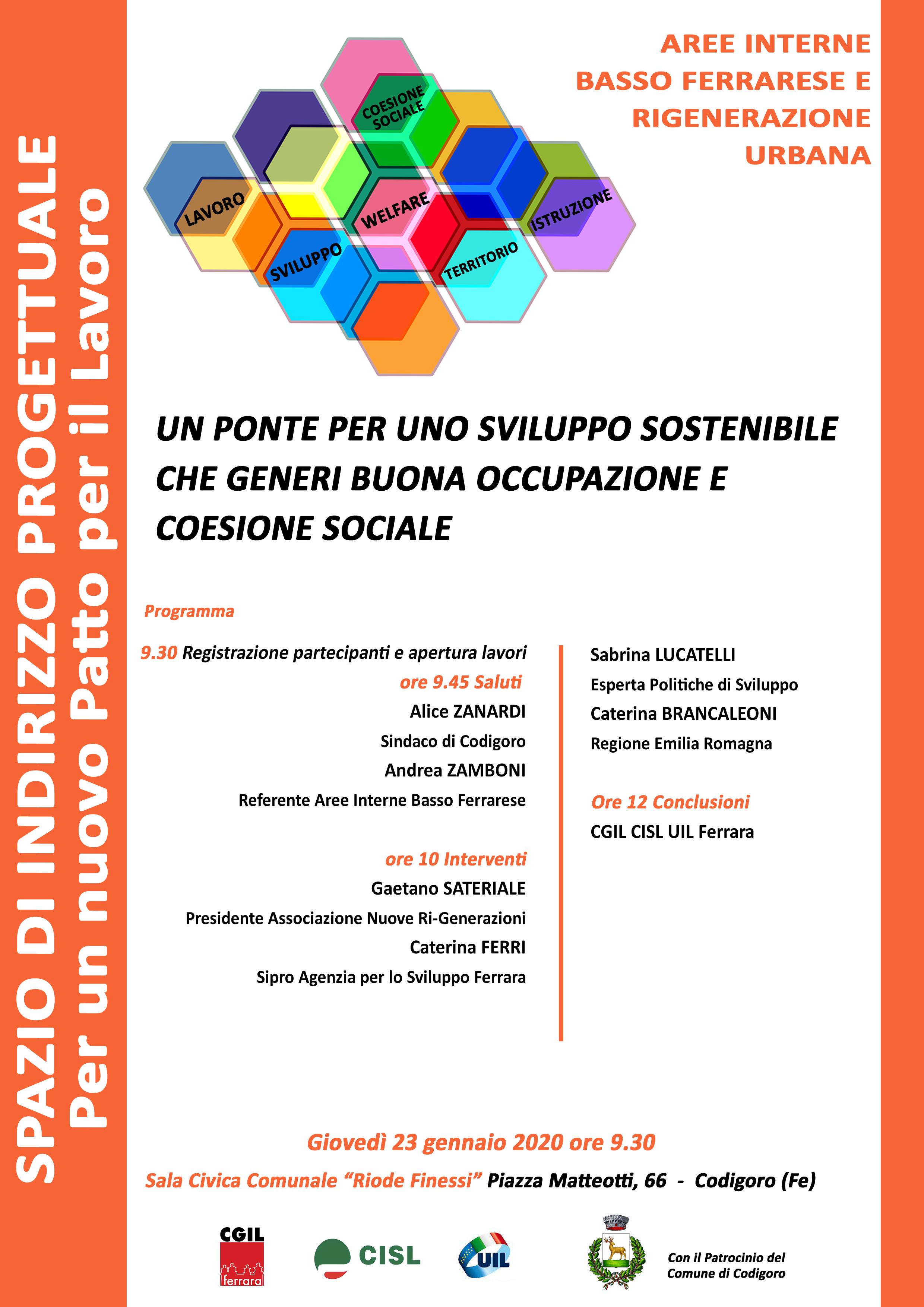 Aree interne Basso Ferrarese: giovedì 23 gennaio uno spazio di indirizzo progettuale organizzato da Cgil Cisl Uil