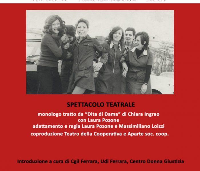 """""""Dita di Dama"""": spettacolo teatrale giovedì 5 marzo in Sala Estense a Ferrara"""