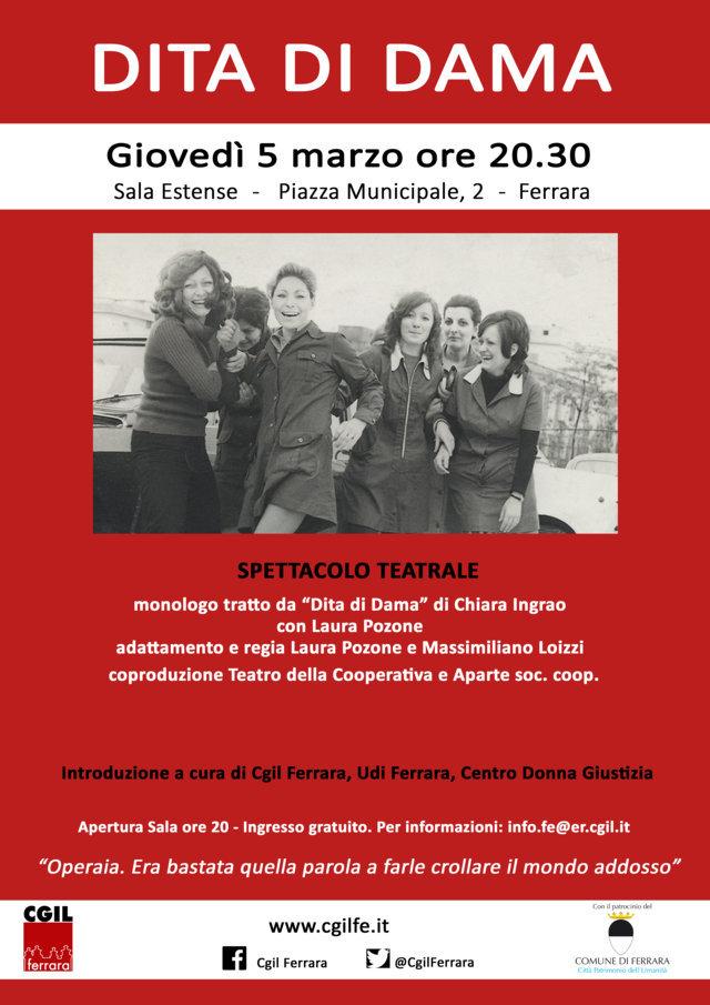 """Dita di Dama"": spettacolo teatrale giovedì 5 marzo in Sala Estense a Ferrara"
