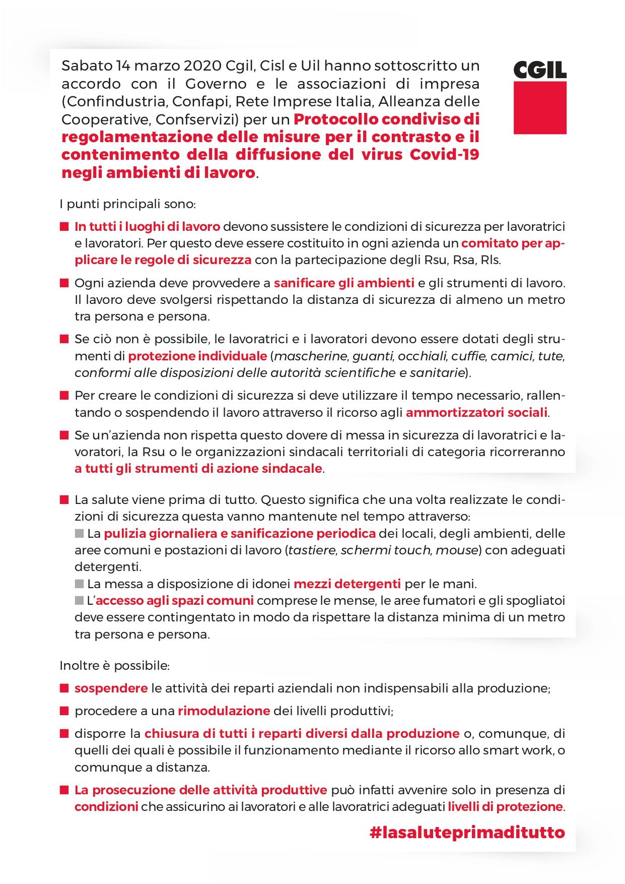 Protocollo di regolamentazione delle misure per il contrasto e il contenimento della diffusione del virus Covid-19 negli ambienti di lavoro
