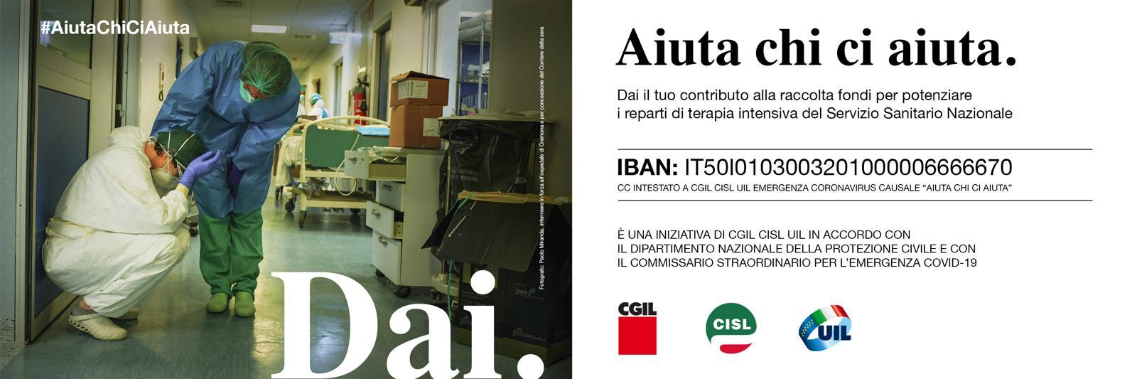 """""""Dai. Aiuta chi ci aiuta"""". Campagna di sottoscrizione promossa da Cgil, Cisl, Uil"""