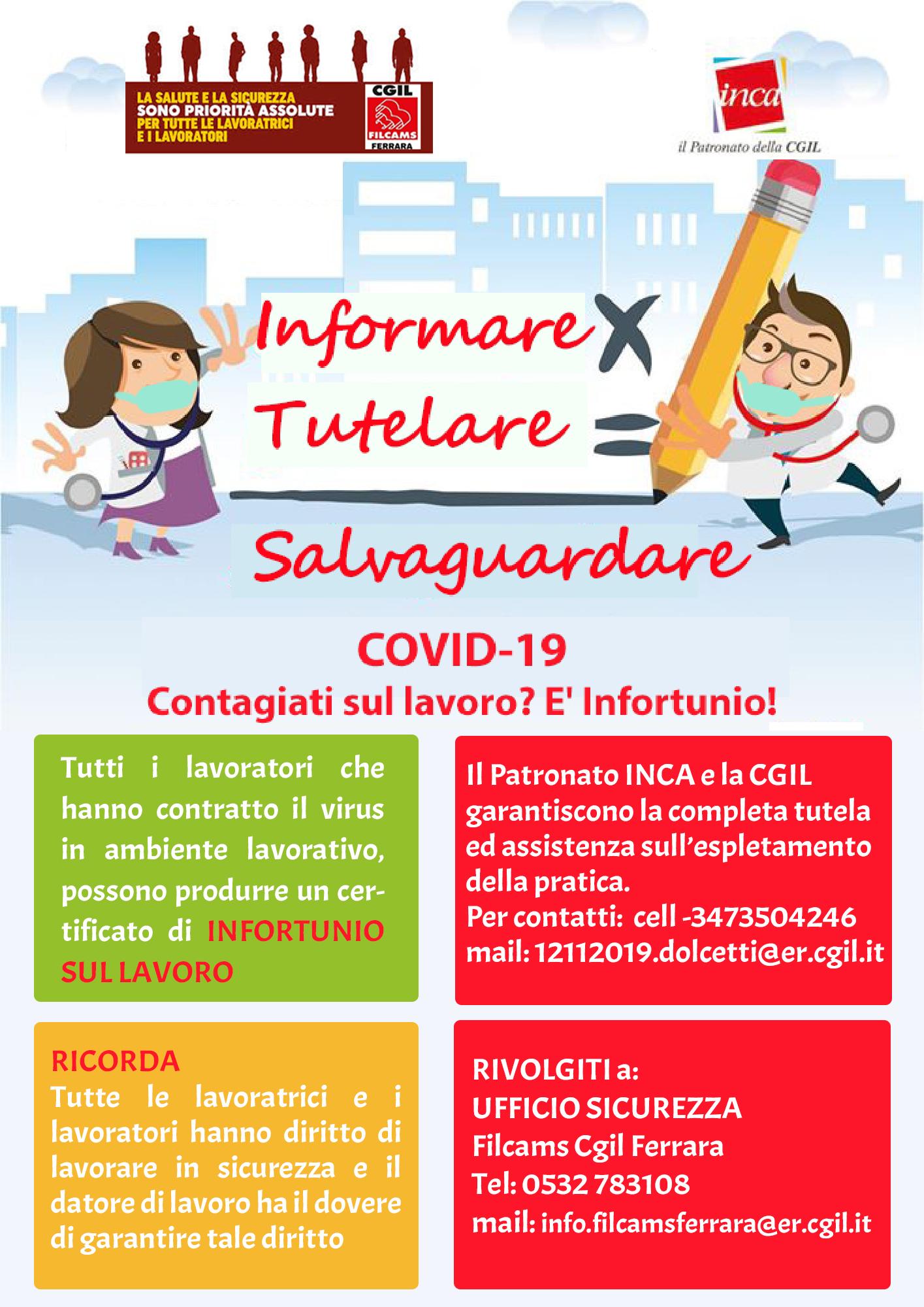 Filcams Cgil Ferrara: informazioni per infortunio da Covid-19 e sicurezza nei luoghi di lavori
