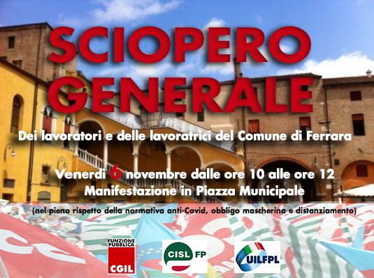 Venerdì 6 novembre in Piazza Municipale sciopero generale dei dipendenti del Comune di Ferrara