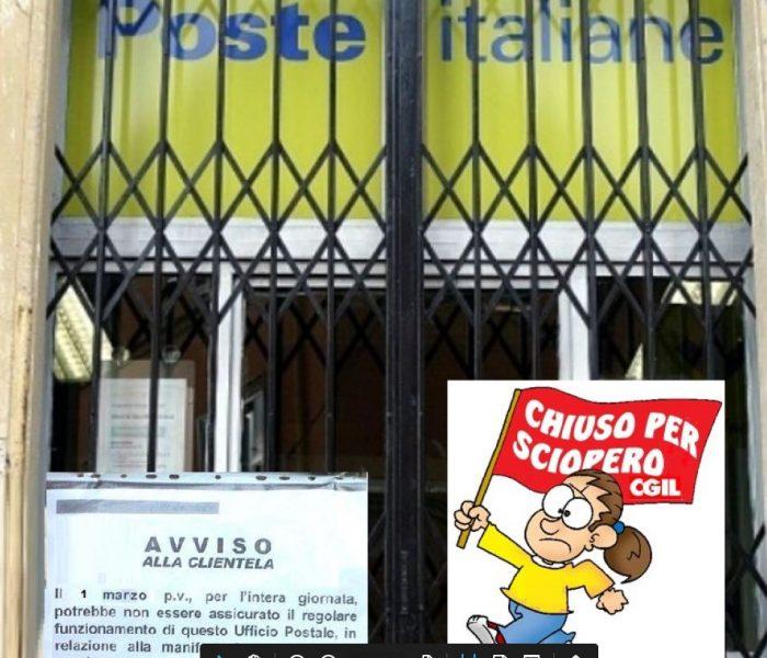 Lunedì 1 marzo sciopero dei dipendenti di Poste Italiane