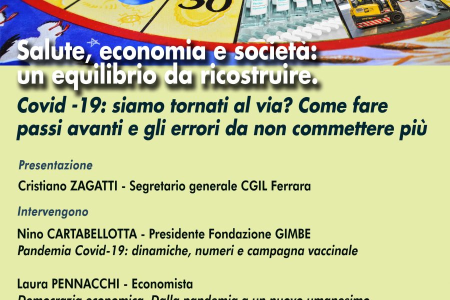 """Iniziativa pubblica on line mercoledì 31 marzo ore 17 """"Salute, economia e società: un equilibrio da ricostruire"""""""