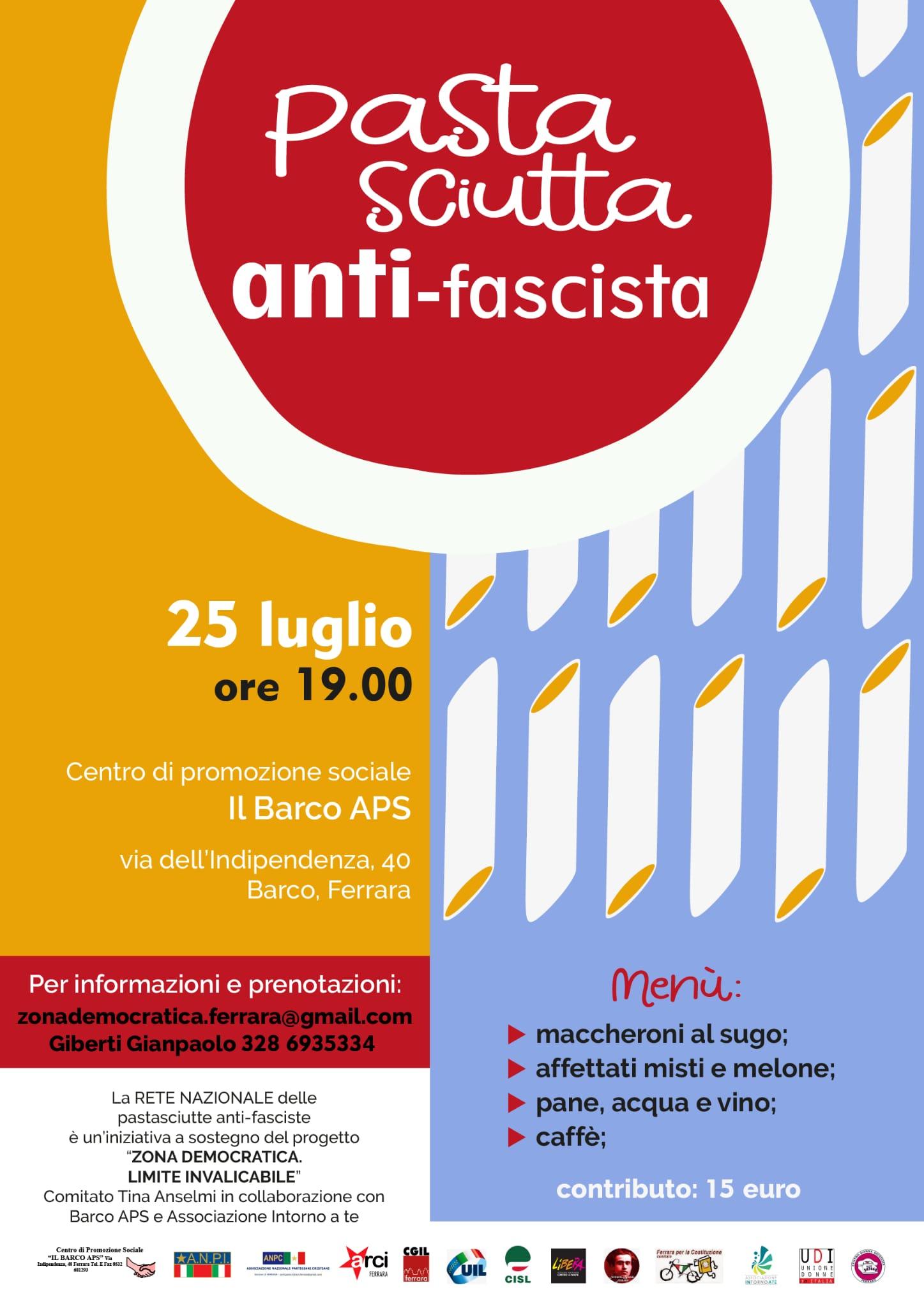 """A Barco domenica 25 luglio c'è la """"Pastasciutta anti-fascista"""""""